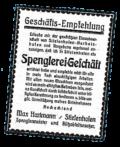 Gründungsinserat Spänglerei Geschäft Hartmann